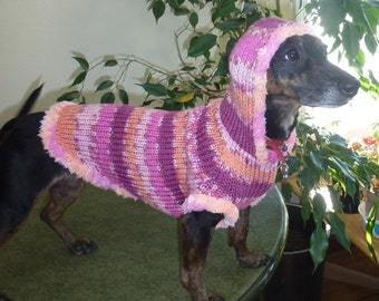 Cotton Candy Custom Dog Sweater -- with Hoodie