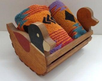 Duck Holder Wooden Handpainted Vintage ,Letter Basket,Bath Accessory Holder