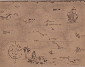 VINTAGE PIRATE'S MAP-Instant Download