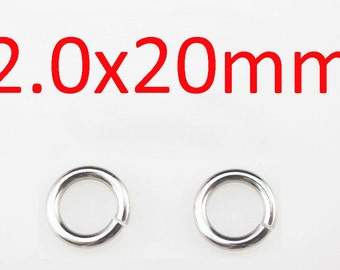 Wholesale - 2x20mm 316L stainless steel jump rings 200pcs/lot