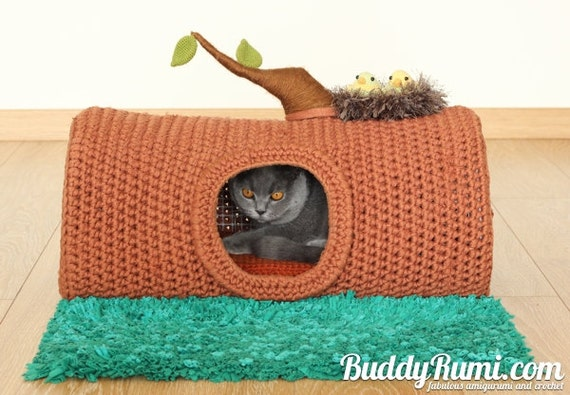 PATTERN: Pet crochet bed cat cave t-shirt yarn A House in the