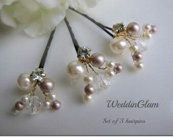 Bridal Hair Pins, Wedding Hair Accessories, Pear crystal rhinestones hairpins, Bridesmaid Hairdo, Ivory champagne brown hair pins and clips