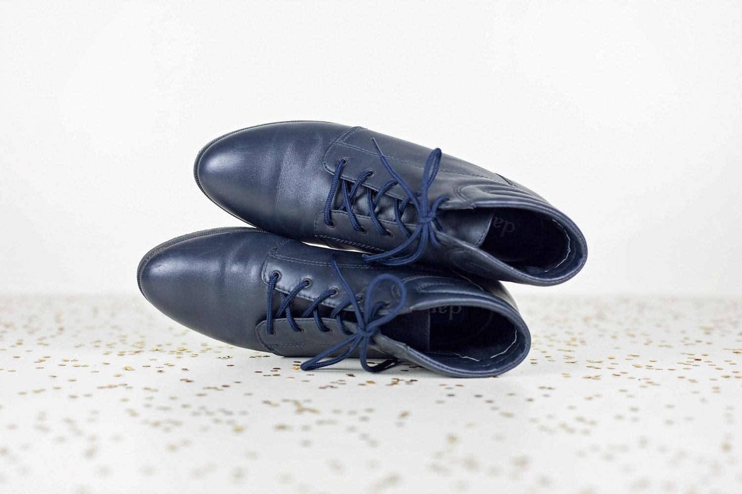 Navy Blue Leather Ankle Boots 7 5 Womens 80s Lace Up Boots