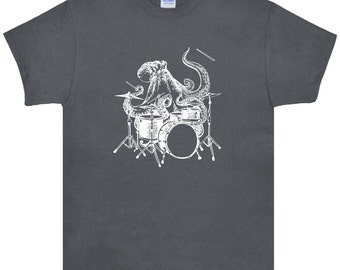 Octopus Playing Drums T Shirt.Men's Gildan Ultra Cotton Adult Tee.Octopus Shirt.Octopus Tee.Octopus Tshirt.Drum Shirt.Drummer Shirt.Drums