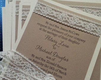 Burlap look lace wedding invitation