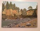 Mountain Stream Acrylic Painting