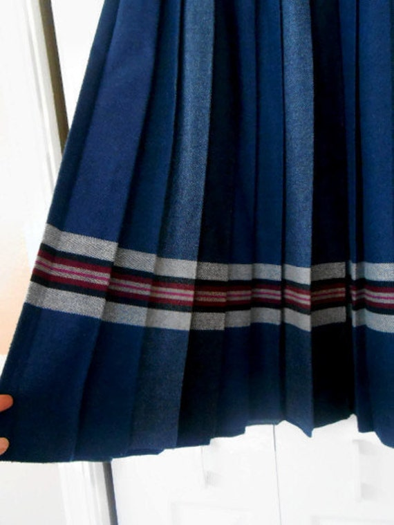vintage wool pleated skirt navy blue gray a line
