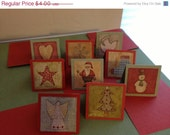 sale20 CHRISTMAS CARDS.  Handcrafted Mini Cards, Old Fashioned Warm Holiday Feeling, Acid-Free linen cardstock, Blank Inside
