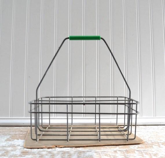 porte bouteille lait m tal vintage panier avec poign e. Black Bedroom Furniture Sets. Home Design Ideas