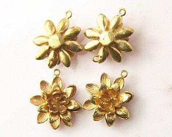 6 pcs of brass lotus two loop charm 15mm-1704-raw brass