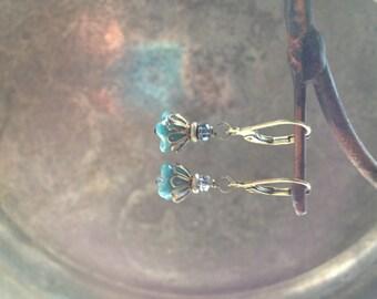Petite flower dangle earrings by TreetopJewelryDesign