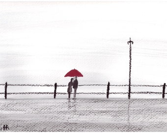 ORIGINAL oil pastel drawing,  love couple, red umbrella, love couple, Valentine's day, lovers, love couple art, couple in love