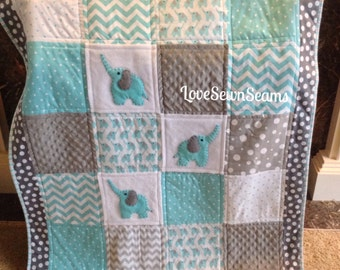 Elephant quilt in Aqua, white, gray organic flannel with Minky back/pink and yellow elephant quilt
