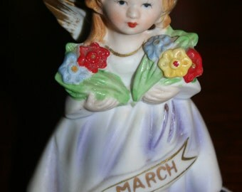 50% OFF - Vintage Porcelain Doll of the Month March Birthstone Ceramic Angel Girl-Excellent - Use Coupon Code '50OFF'