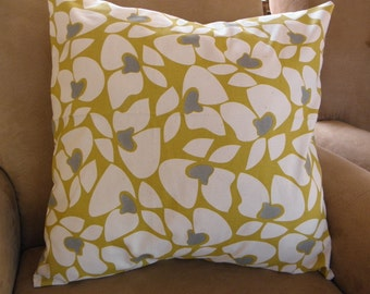 Big Sale !!! Floral Gray And Green Pillow Cover 18x18
