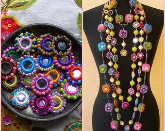 ARTISAN BEADS Type C, made to order, Colorful beaded mirrors, 10 pcs, various colors, rainbow mirrors