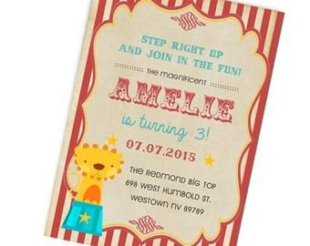 Vintage Circus Birthday Invitation, Circus Party, Digital Printable File.