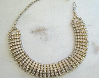 Gorgeous Vintage Crystal Rhinestone Collar Necklace Six Row Clear Swarovski Crystals 1980's Jewelry Wedding Bridal Prom Brilliant Sparkle