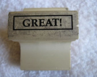 """Rubber Stamp """"GREAT!"""" In 6 Languages 1 1/2 X 2 Inches CL20-37"""