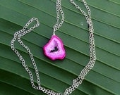 Custom order-Mike. Hot Pink Druzy Slice Necklace. Shortened to 18 inches