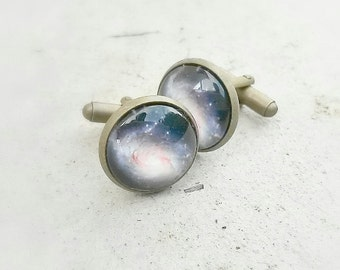 Galaxy cuff links -Universe cufflinks-Groom cuff links -men gift -space cufflinks - Nebula cufflinks -stars cosmos cufflinks -Astronomy gift