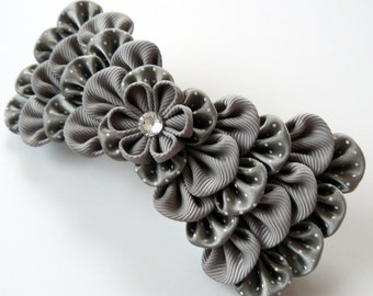 Kanzashi fabric flower french barrette.  Grey kanzashi barrette. Grey bow hair piece.