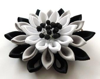 Kanzashi fabric flower hair clip. Black, grey and white. Japanese hair clip. Kanzashi hair flower.