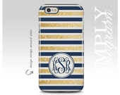 iPhone 6 Case iPhone 4 Case iPhone 5 Case iPhone 5s Case iPhone 5c Case Samsung Galaxy Case - gold navy blue stripe (Not Actual Glitter)