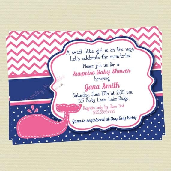 baby shower invitation pink and navy whale baby shower, Baby shower invitations