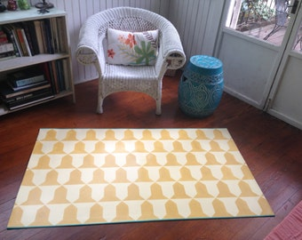 Hand painted canvas rug/ floor cloth geometric pattern deep yellow pale yellow turquoise stripe