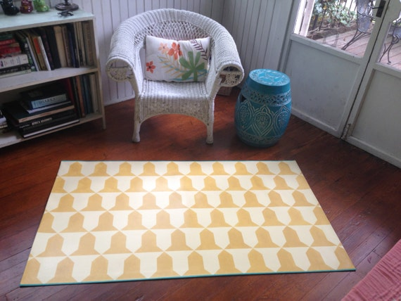 Hand Painted Canvas Rug Floor Cloth Geometric Pattern Deep