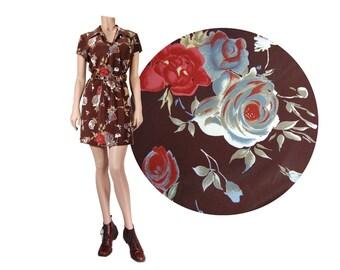 Medium Chocolate Brown 90's Floral Dress // 90's Rampage Dress  // Floral Print Mini Dress // Grunge Revival / 90's Grunge Dress // D41