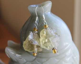 Natural Yellow Quartz Earrings, sterling silver hook