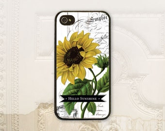 "Sunflower phone case iPhone 4 4S 5 5s 5C 6 6+ Plus Samsung Galaxy s3 s4 s5 s6 Vintage style sun flower ""Hello Sunshine"" Shabby chic V1365"