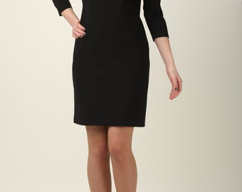 Black dress with decorative arms, little black dress, designer dress, black dress