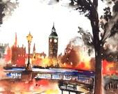 Sunset in London Watercolor Painting - London Sunset Travel Illustration - Fine Art Print - Lana Moes Art - Wanderlust Illustration