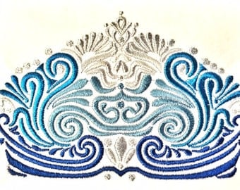 Ombre Gradient Machine Embroidery Crown