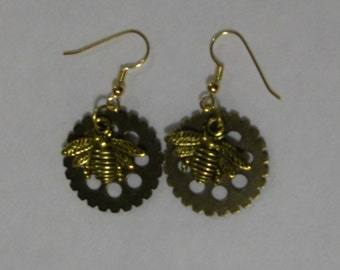 Golden Bee and Gear Earrings with Gold Plate Wires