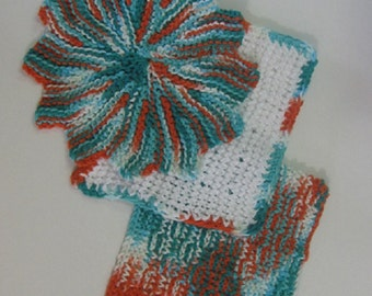 Bold Colors Hand Knit Dish Cloth Set