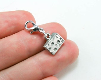 Wine Lover Cheese Charm. Wine and Cheese Clip Charm. Custom Bracelet Charm. SCC213