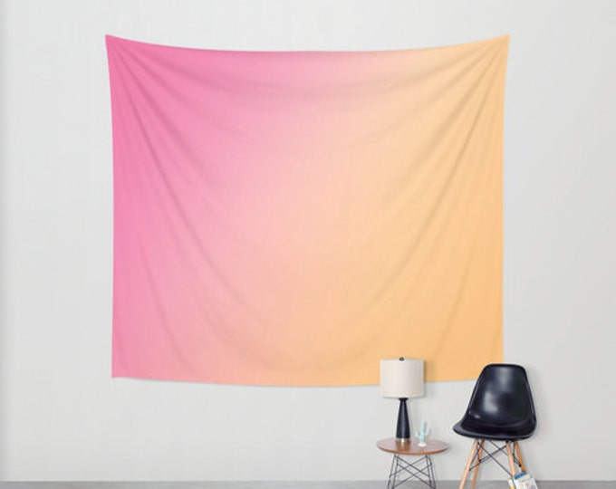 Hanging Tapestry - Wall Tapestry - Pink to Orange Ombre - Large Wall Hanging - Original Art - Home Decor - Made to Order