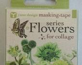 Japanese Washi Tape Yano Design Masking Tape Flowers  for Collage Series - Green, Round top Washi Tape wholesale