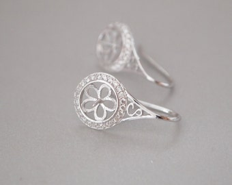 1 Pair, Ear Hook, 18K White Gold Vermeil, Pave CZ Teardrop Shape, for Half-drilled Gemstone/ Pearl, DIY Jewelry Supplies