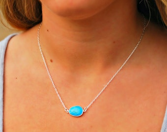 turquoise gem slice layering necklace ~ silver necklace, layering necklace, charm necklace, turquoise jewelry, gemstone necklace, turquoise