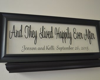 Personalized Wedding Sign, And They Lived Happily Ever After, Personalized Wedding Gift, Engagement Gift, Anniversary