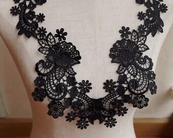 black Lace Applique, crochet lace applique, venise lace applique, 2pcs