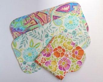 Baby Burp Cloths. Set Of 3.  Yummy Mummy Gift. Shaped Neck For Comfort.  Handmade. UK Seller