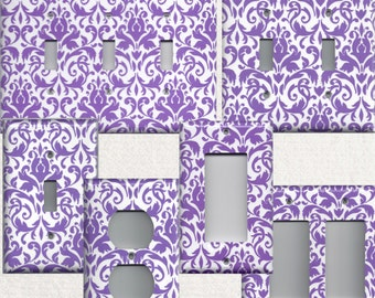 Bright Purple & White Floral Damask Light Switch Plates and Wall Outlet Covers Elegant Home Decor Accents