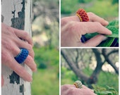 Crochet ring- tribal jewelry, soft jewelry, textile ring, funky ring, choose color, blue, grey, green, yellow,