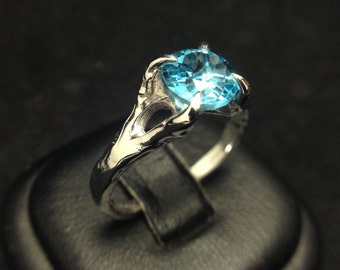 Organic Solitaire, with Swiss Blue Topaz